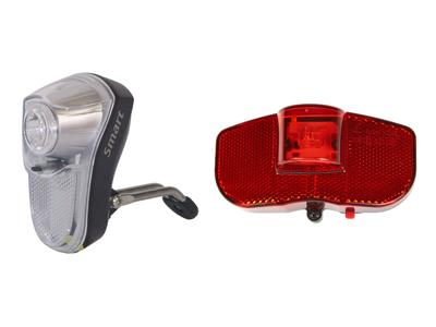 Smart 0,5 Watt + Baglygte til bagagebærer - Lygtesæt - Inkl. batterier