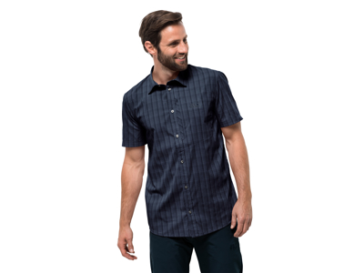 Jack Wolfskin Rays Stretch Vent Skjorte - Herre - Mørkeblå tern