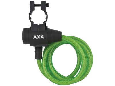 Axa - Zipp - Spirallås - 1200x8 mm - Med nyckel - Grönt