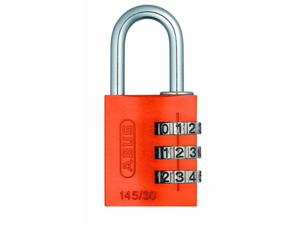 Hængelås Abus 145/30 orange med trecifret kode