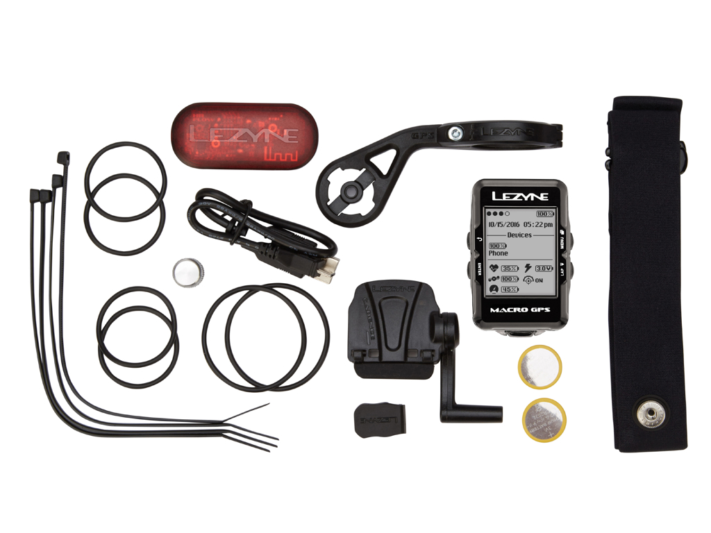 Lezyne Macro GPS HRSC Loaded - Cykelcomputer - Bundle med pulsbælte og sensorer thumbnail