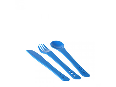 LifeVenture Ellipse Cutlery Set - Letvægts bestiksæt plastik med 3 dele - Blå