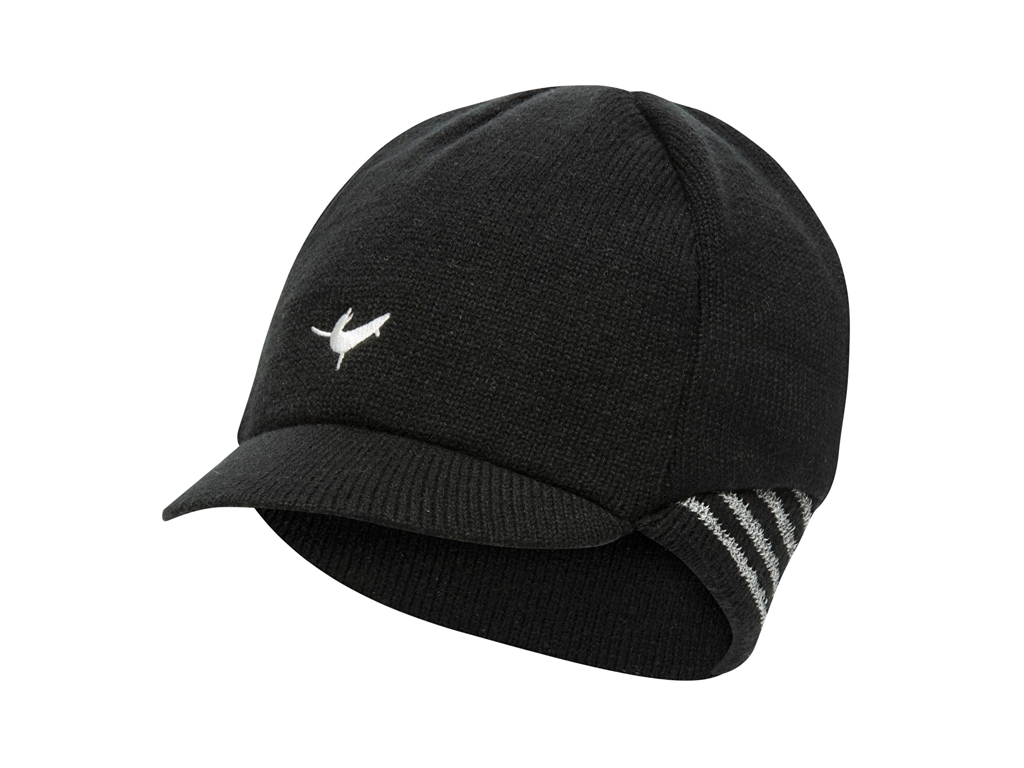 Image of   Sealskinz Belgian Style Cap - Vintercykelkasket - Sort/hvid - Str. L/XL