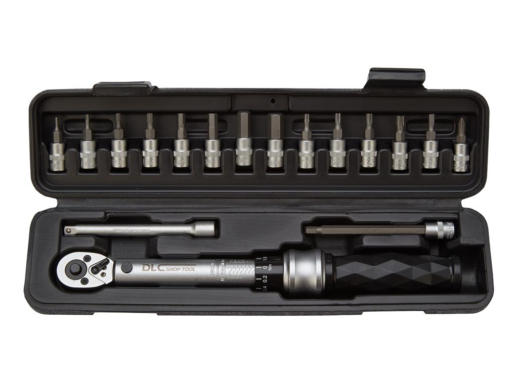 Image of   Atredo - Momentnøgle 1-25 Nm - med 14 bits - 2 forlænger stænger 1/4 top