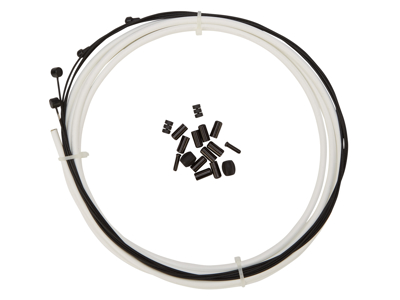 Atredo - Premium Kevlar/Teflon Bremsekabel - 5mm - Hvid - Sæt til for og bag