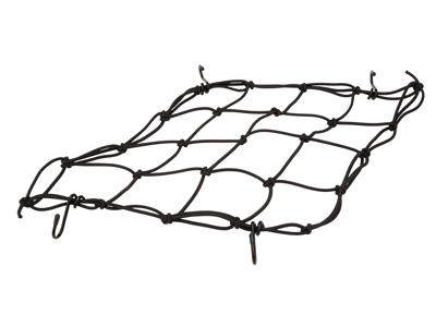BikePartner - Sikkerhedsnet til kurv - 4 kroge - Sort - 25x25 cm