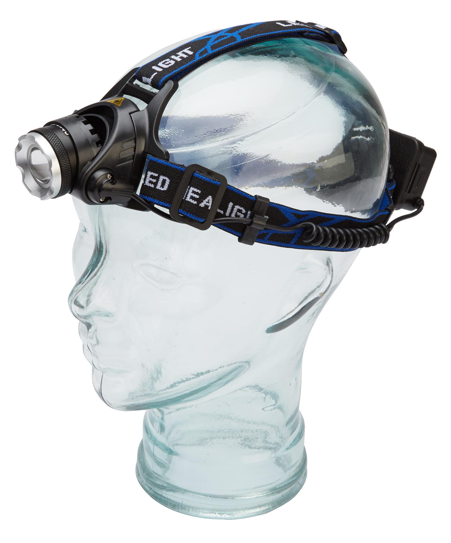Atredo - Pandelampe - 600-800 lumen - Opladelig - Aluminium - Sort   Headlamp
