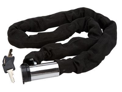 Bike Attitude - Kättinglås - 8 mm x 100 cm - Svart - med nyckel och avlångt låshus