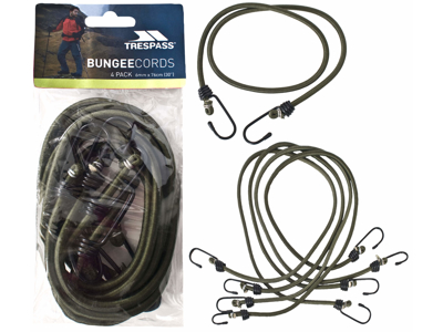 Trespass Bungee - Gummistroppar - 4 st - 6mm x 76cm - Oliv