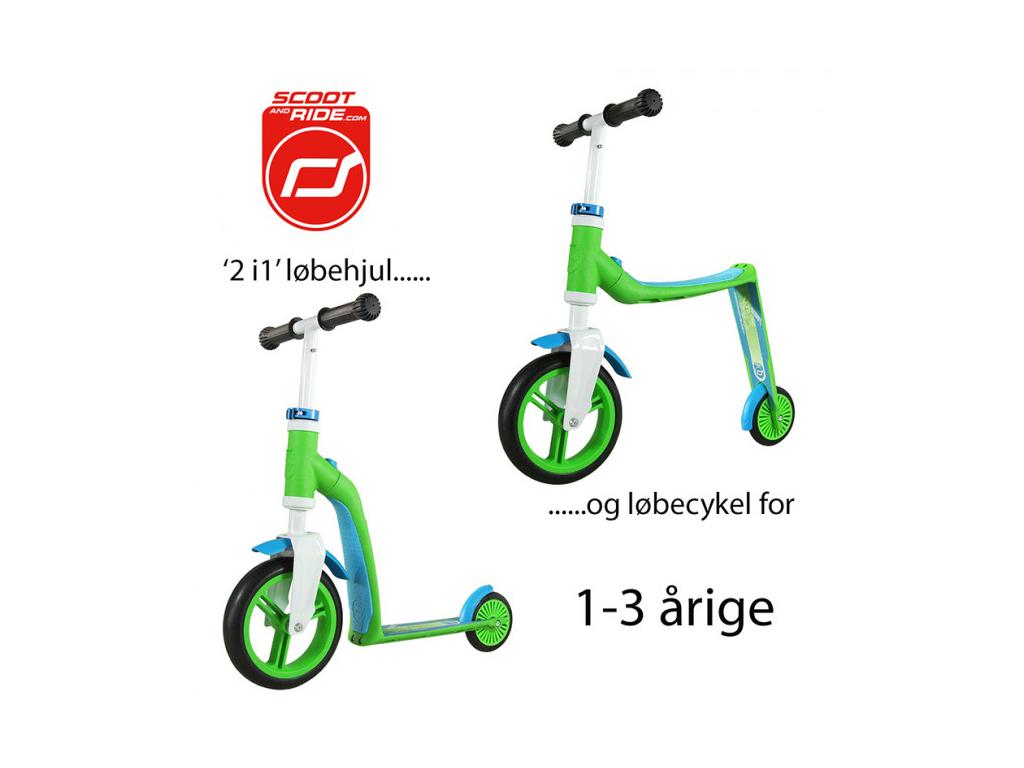 Image of   Scoot&Ride 2 i 1 løbehjul og løbecykel - Highway baby - Grøn/Blå