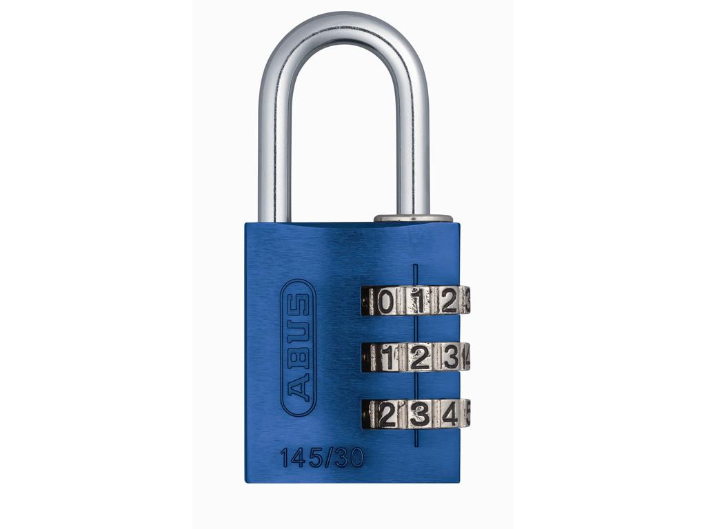 Image of   Hængelås Abus 145/30 blå med trecifret kode