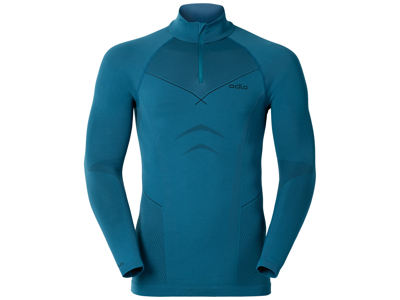 Odlo herre basislag m/turtleneck - 1/2 zip Evolution Warm - Blå