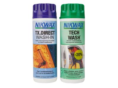 Nikwax Twinpack Tech Wash/TX-Direct - Vask og imprænering til vandtæt beklædning - 2 x 300