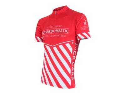 Sensor Cyklo Superdomestic - Cykeltröja med korta ärmar - Röd/vit