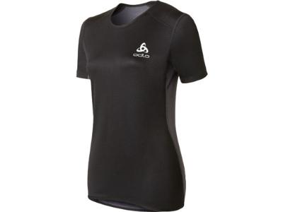 Odlo Shirt S/S Crew Neck - Vindtæt løbe t-shirt til dame - Sort/grå