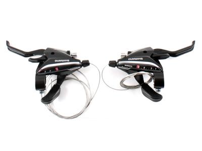 Shimano - STI grebsæt ST-EF65 - 3x8 Speed - MTB - Sort