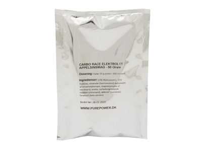 PurePower Carbo Race Elektrolyt - Energidrik - Appelsin - 50 gram