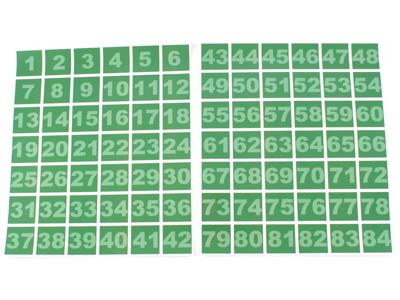 Klistermærkater numre 1 - 84 - Grøn