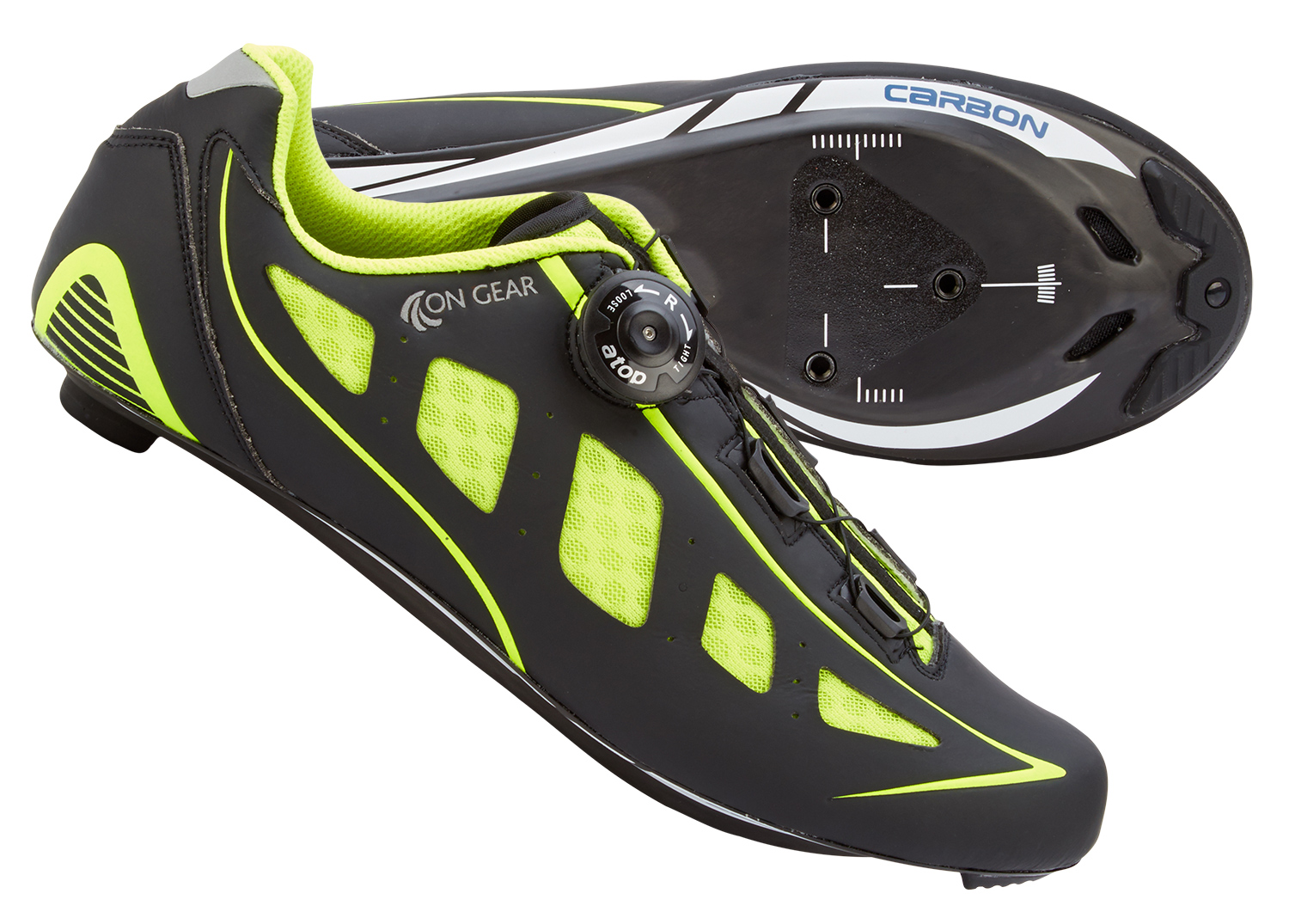 On Gear Cykelsko Carbon Race - Sort/Neongul | Shoes and overlays