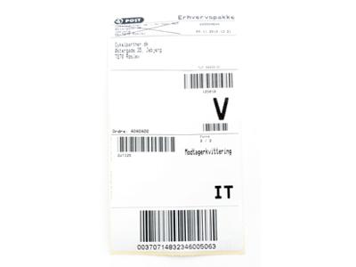 Returlabel til returnering af varer (DK)