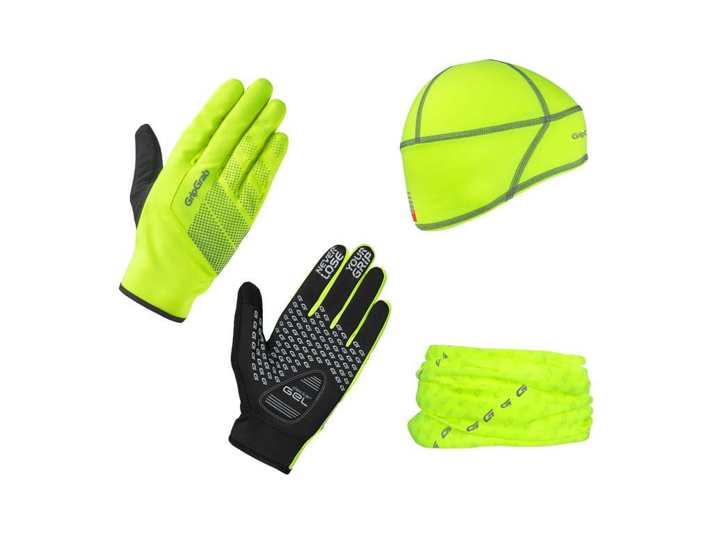 Image of   GripGrab Hi-Vis Gaveæske - Handsker, hue og halsedisse - Hi-Vis gul - Str. L