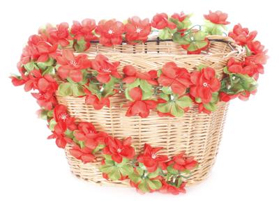 Blomsterkrans Röd plast till cykelkorg
