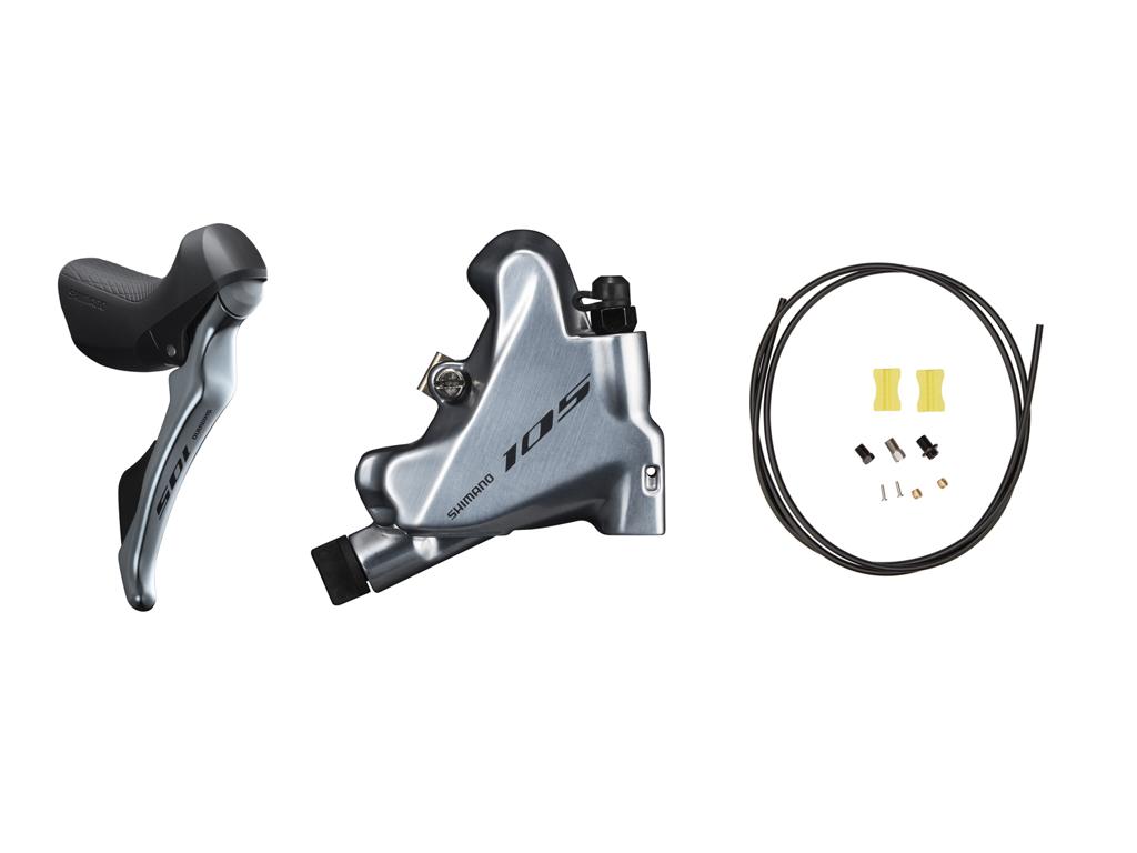 Image of   Shimano 105 STI og hydraulisk bremsegreb small højre sølv - ST-R7025R og BR-R7070R