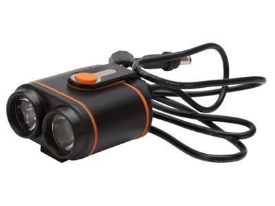 Atredo - MTB Forlygte - 1500 Lumen - USB opladelig - Klikbeslag - Sort