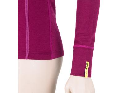 Sensor Merino Active Tee LS Zip - Uldundertrøje med høj hals - Dame - Lilla