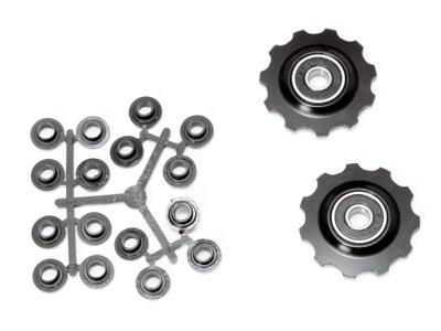 Pulleyhjul 11 tands i aluminium sort med lukkede lejer - Shimano 9 og 10 gear