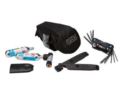 PRO kombipakke - Sadeltaske med Co2 pumpe, dækjern og multitool