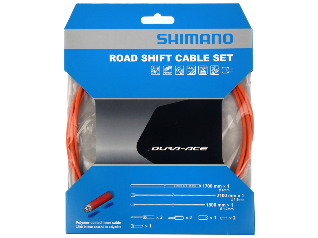 Image of   Shimano Dura Ace gearkabelsæt - Road Polymer - For-og bagskifter kabel komplet - Orange