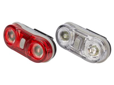 D.Light CG405 - Lygtesæt  med batteri - 2 LED - 3 funktioner - Med klik beslag