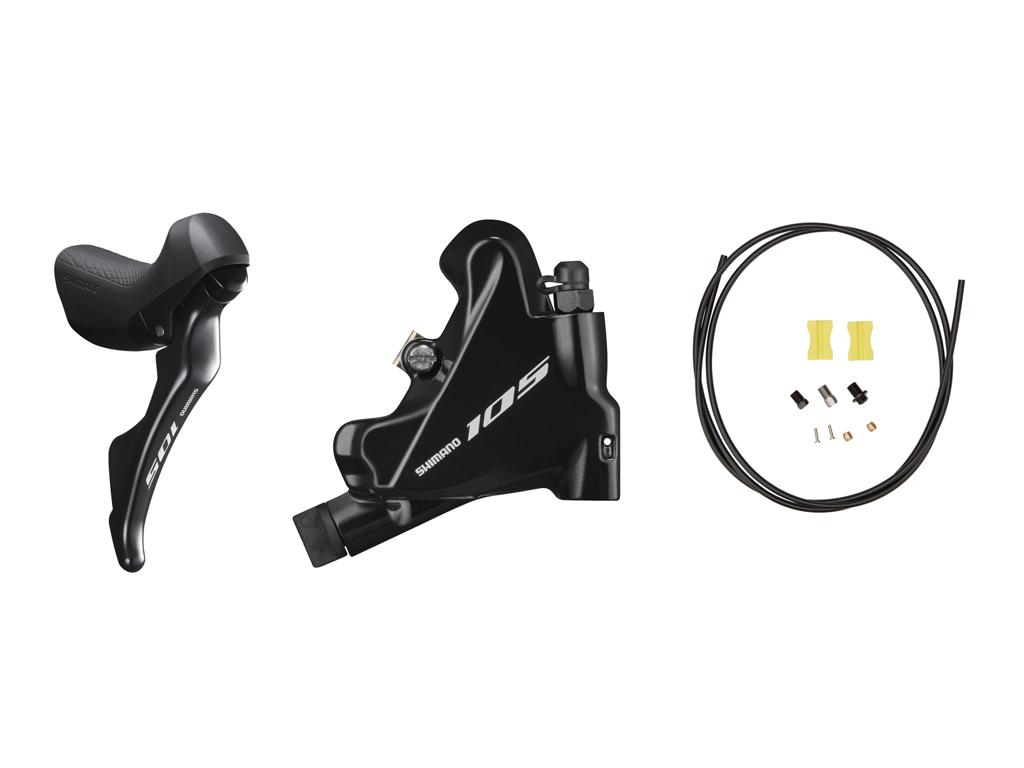 Image of   Shimano 105 STI og hydraulisk bremsegreb højre sort - ST-R7020R og BR-R7070R