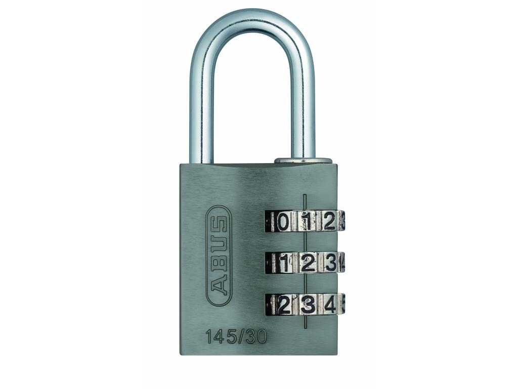 Image of   Hængelås Abus 145/30 titaniumfarvet med trecifret kode
