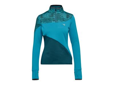 Diadora L. Warm Up T-Shirt Winter - Løbetrøje m. høj hals - Blå - Dame