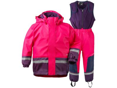 Didriksons Boardman Kids Set - Fleecefodrade regnkläder - Rosa - Str. 130