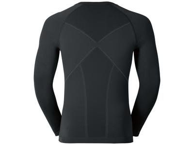Odlo herre langærmet shirt - Crew Neck Evolution Warm - Sort/grå