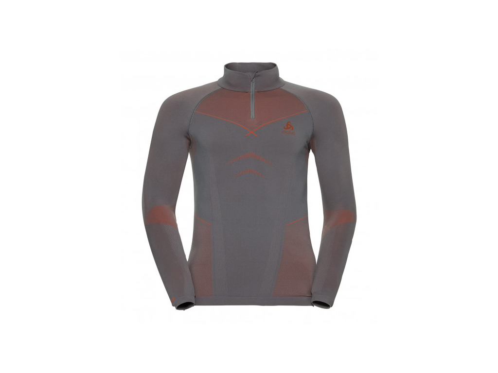 Image of   Odlo - Evolution shirt turtle neck - Herre - Grå/orange - Str. S