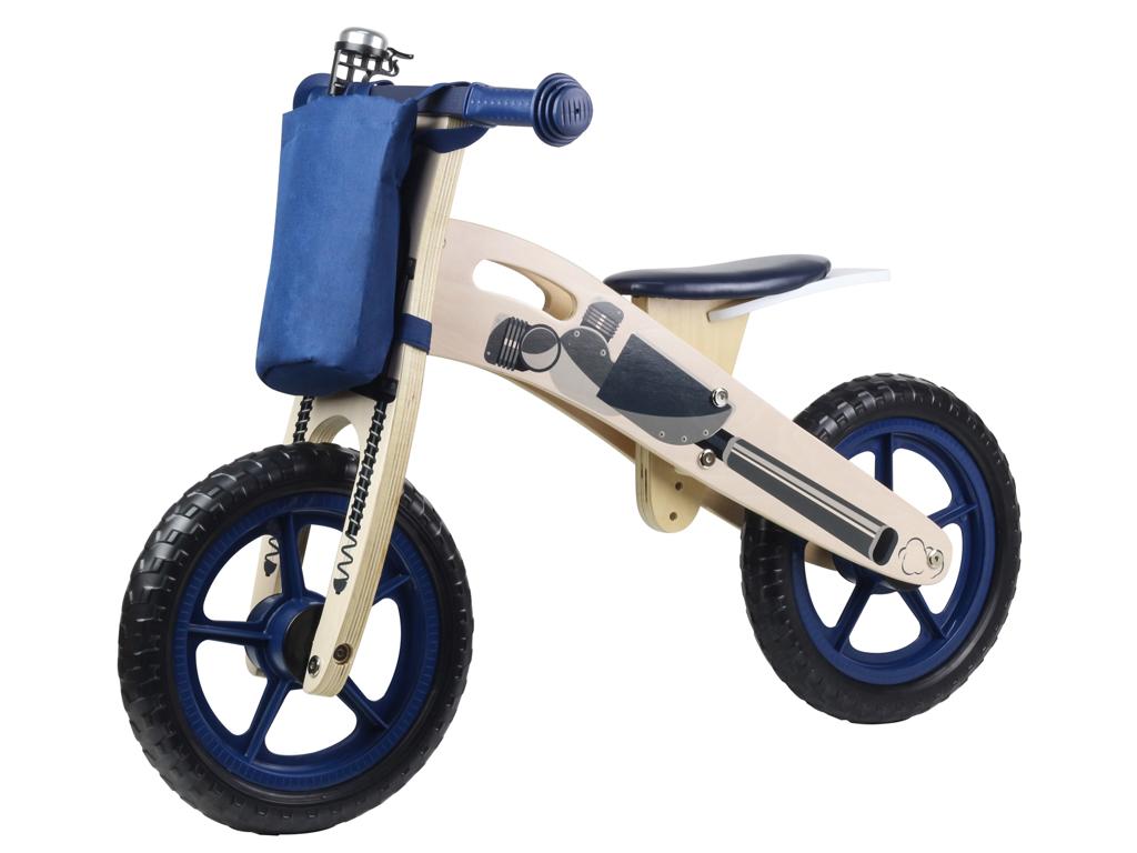 Image of   Kinderline - Løbecykel i træ - Med EVA foam dæk - Mørkeblå