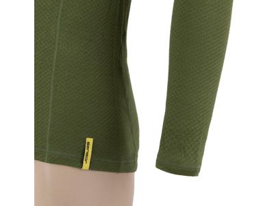 Sensor Merino DF Tee LS Zip - Uldundertrøje m. høj hals- Herre - Grøn