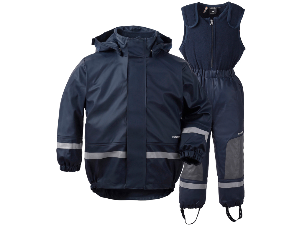 Image of   Didriksons Boardman Kids Set - Fleeceforet regntøj - Navy - Str. 100
