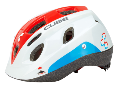 Cube Kids Teamline børnecykelhjelm - Hvid/rød/blå - Str. 48-52