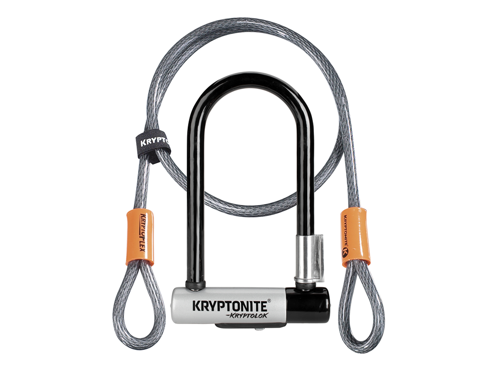 Image of   Kryptonite bøjlelås med wire - Kryptolok Mini 7 - U-Lock med Flex