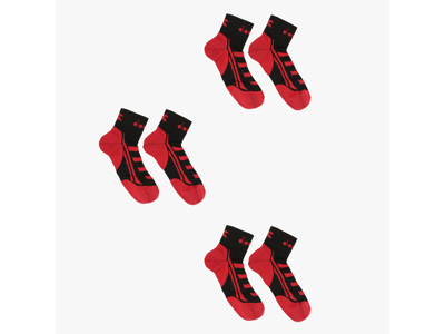 Diadora 3 Lightweight Quarter Socks - Running Socks 3 stk. - Svart, rød