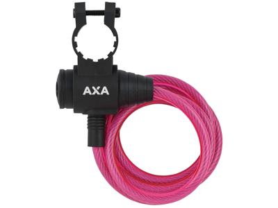 Axa - Zipp - Spirallås - 1200x8 mm - Med nyckel - Rosa
