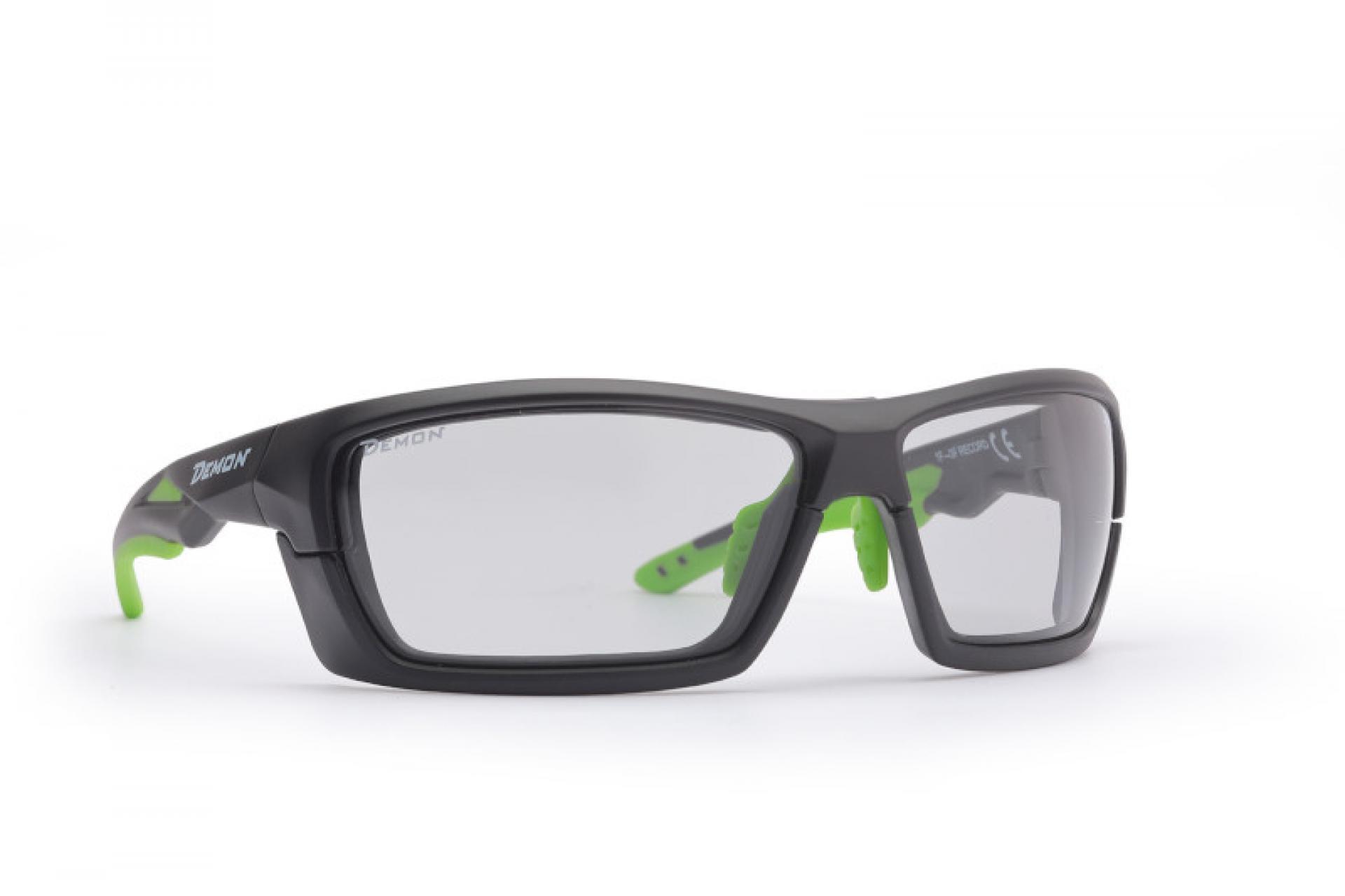 Demon Record DCHROM - Løbe- og cykelbrille med fotokromiske linser - Sort/grøn   Glasses