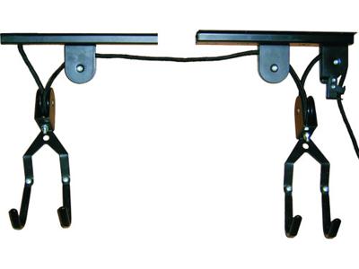 Atredo - Cykelophæng med snoretræk - Til montering i loftet - Sort