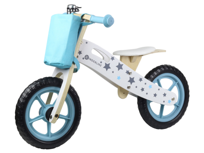 Kinderline - Løbecykel i træ - Med EVA foam dæk - Lyseblå