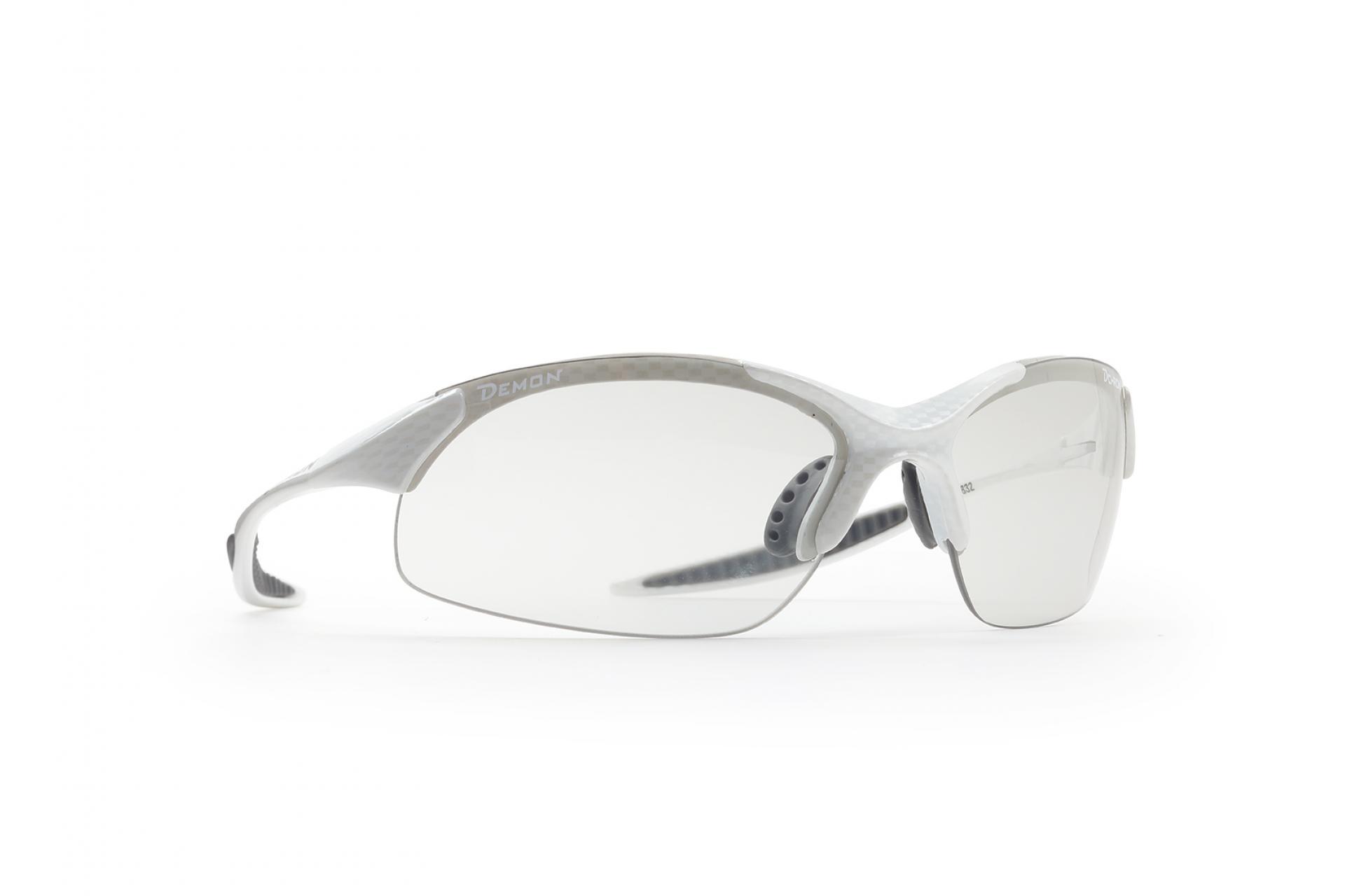 Demon 832 - Løbe- og cykelbrille med fotokromisk linse - Carbon look/hvid   Glasses